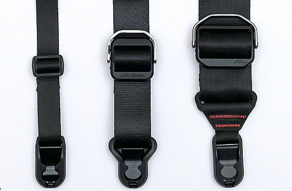 Here you can see the size difference between the hardware on the Leash (left most), the Slide LITE and the Slide. Don't you worry, the small buckle on the Leash still allows you to easily adjust the length of the strap, without the bulk of the other buckles.