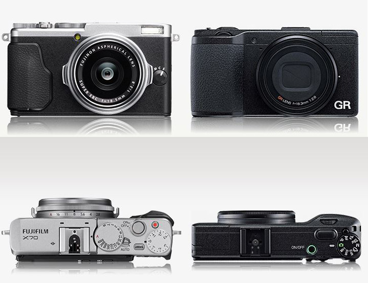 Ricoh GR vs Fuji X70 size comparison top and front view