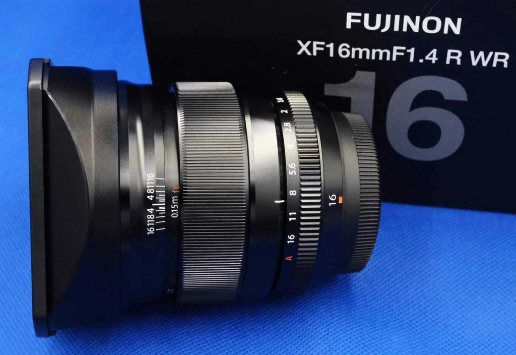 Fuji 16mm f/1.4 with alternative, replacement square hood