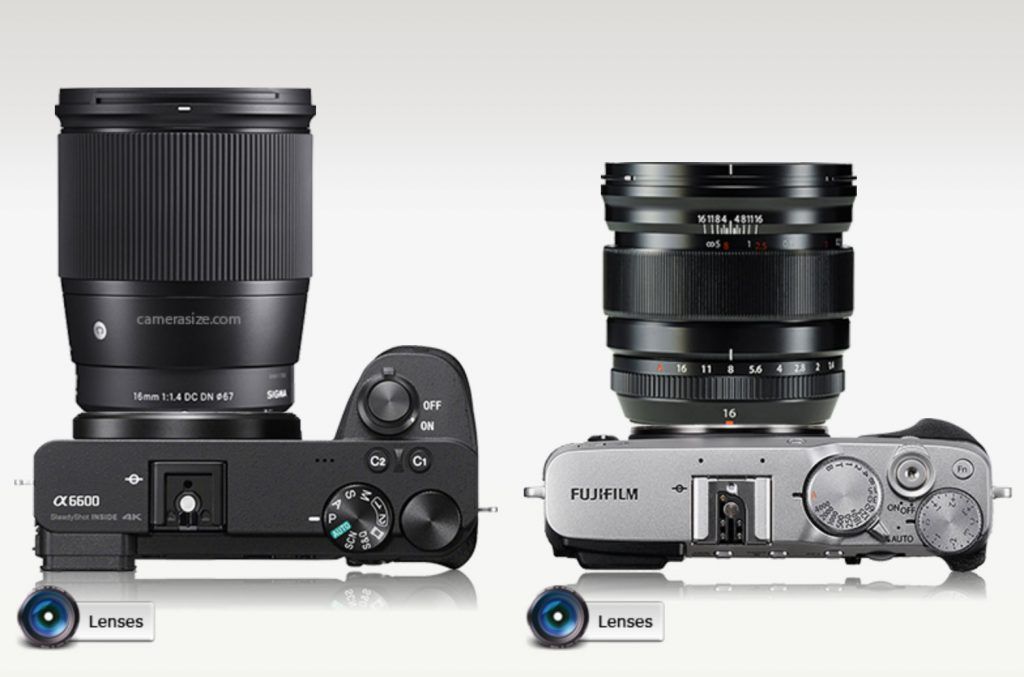 Fuji 16mm f/1.4 size comparison vs Sigma 16mm f/1.4 on Sony crop sensor