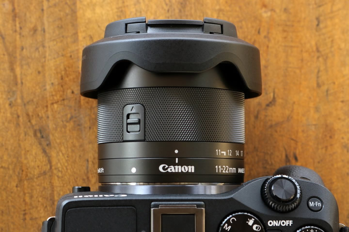 Canon EF-M 11-22mm ultra wide lens size with hood