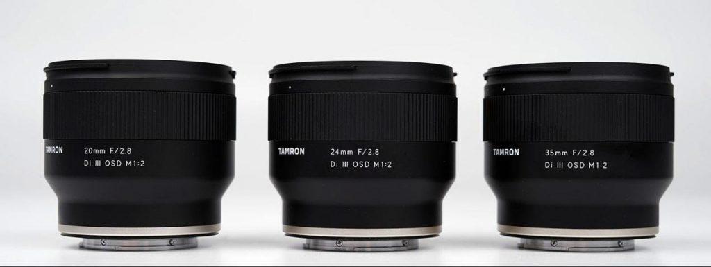 Sony 20mm, 24mm, 35mm prime lenses for Sony E-Mount