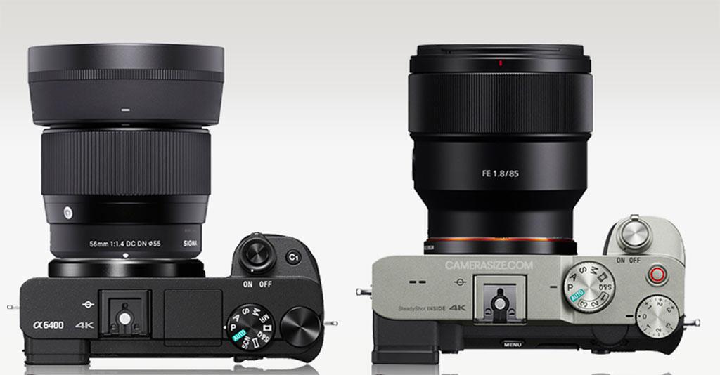 Size comparison APS-C vs full frame 56mm vs 85mm