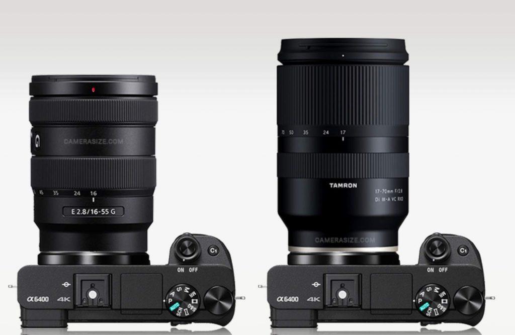 Size comparison vs Sony 16-55mm f/2.8 and Tamron 17-70mm f/2.8