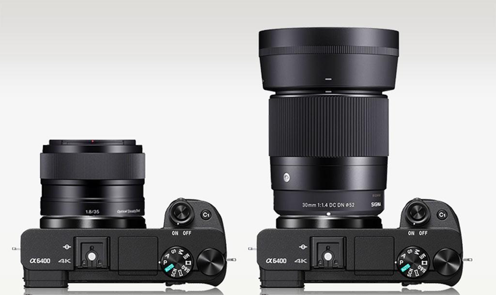 Size comparison Sony E 35mm f/1.8 vs Sigma 30mm f/1.4